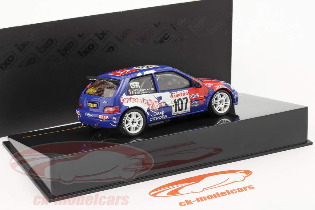 Citroen Saxo Kit Car #107 Rallye Sanremo 1999 Loeb, Elena 1:43 IXO