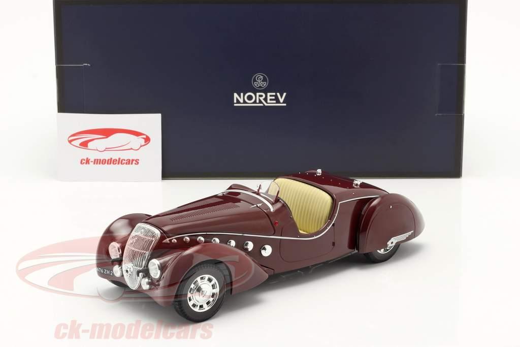 Peugeot 302 Darl'Mat Roadster Baujahr 1937 dunkelrot metallic 1:18 Norev