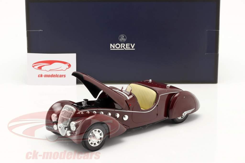 Peugeot 302 Darl'Mat Roadster bouwjaar 1937 donkerrood metalen 1:18 Norev