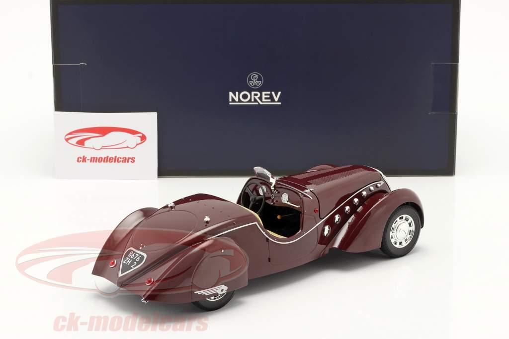 Peugeot 302 Darl'Mat Roadster Année de construction 1937 rouge foncé métallique 1:18 Norev
