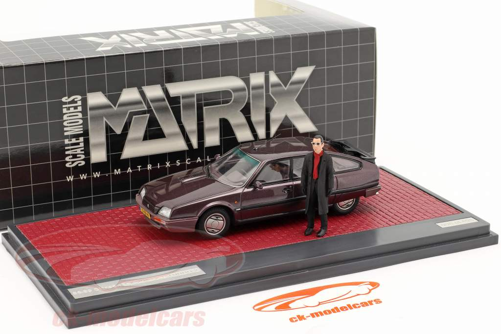 Citroen CX 25 GTi Turbo 2 1986 with figure Cassis metallic 1:43 Matrix