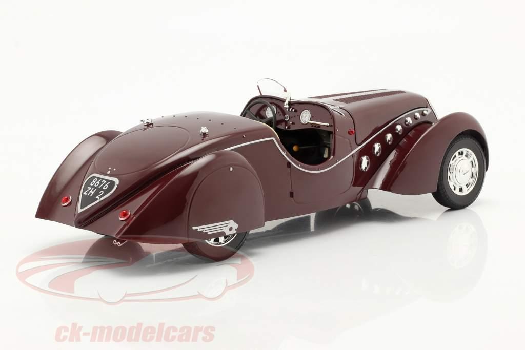 Peugeot 302 Darl'Mat Roadster Byggeår 1937 mørkerød metallisk 1:18 Norev