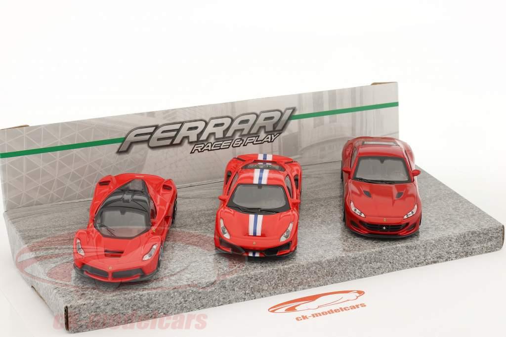 3-Car Set Ferrari Race & Play rosso 1:43 Bburago