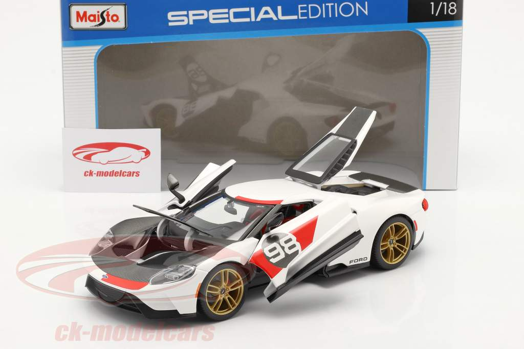 Ford GT #98 Heritage Edition 2021 bianca / rosso / carbonio 1:18 Maisto