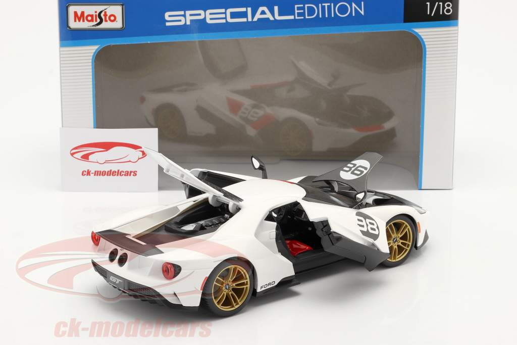Ford GT #98 Heritage Edition 2021 blanc / rouge / carbone 1:18 Maisto