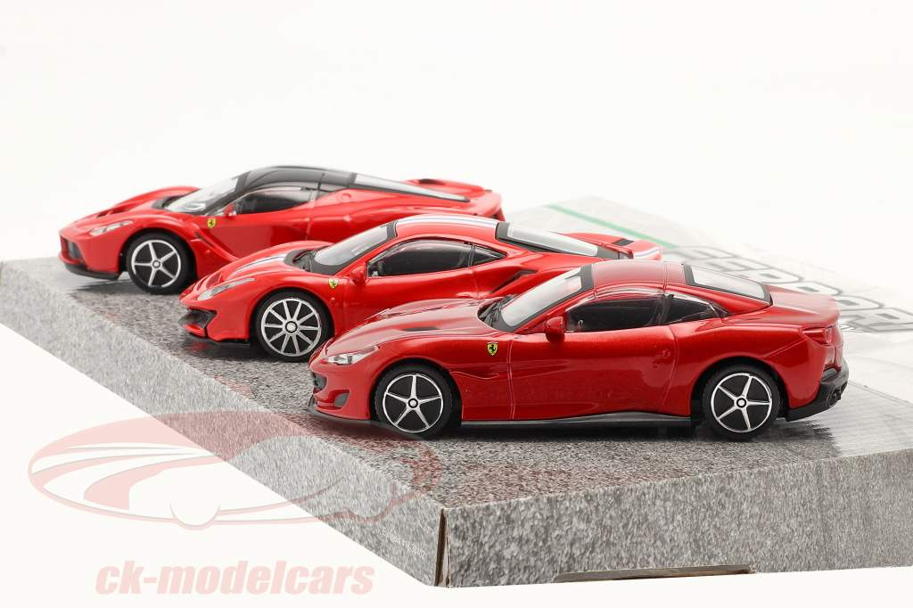 3-Car Set Ferrari Race & Play rot 1:43 Bburago