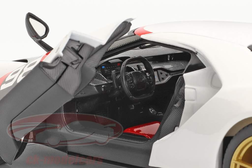 Ford GT #98 Heritage Edition 2021 Branco / vermelho / carbono 1:18 Maisto