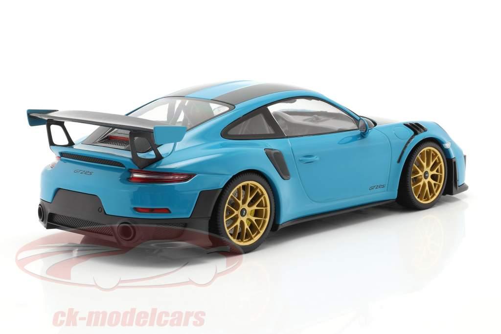 Porsche 911 (991 II) GT2 RS Weissach Package 2018 miami blauw / gouden velgen 1:18 Minichamps