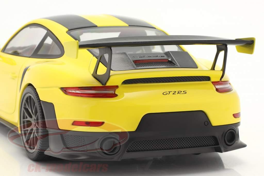 Porsche 911 (991 II) GT2 RS Weissach Package 2018 racing geel / zilver velgen 1:18 Minichamps