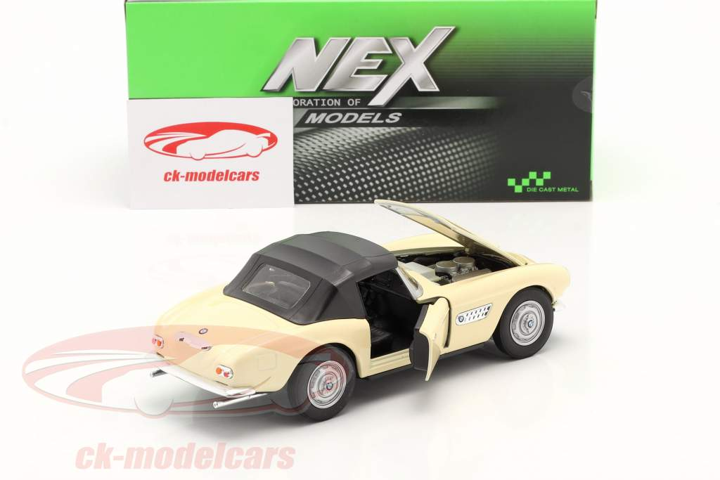 BMW 507 Convertible Closed Soft Top crème blanc 1:24 Welly