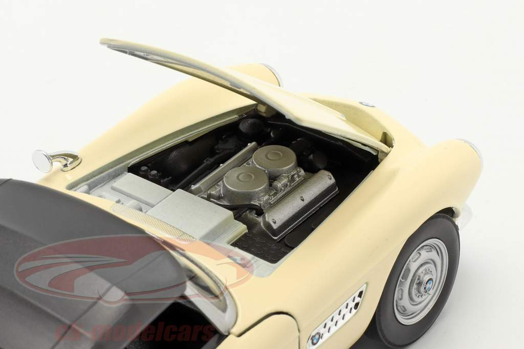 BMW 507 Convertibile Closed Soft Top crema bianca 1:24 Welly