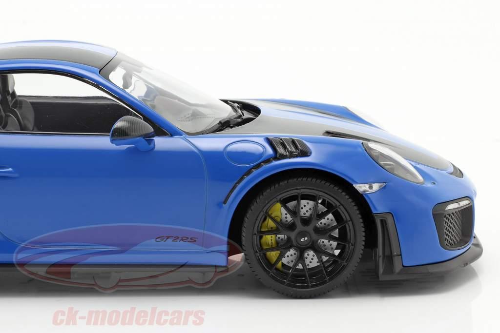 Porsche 911 (991 II) GT2 RS Weissach Package 2018 vodu azul / Preto aros 1:18 Minichamps