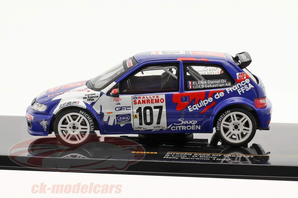 Citroen Saxo Kit Car #107 Rally Sanremo 1999 Loeb, Elena 1:43 ixo