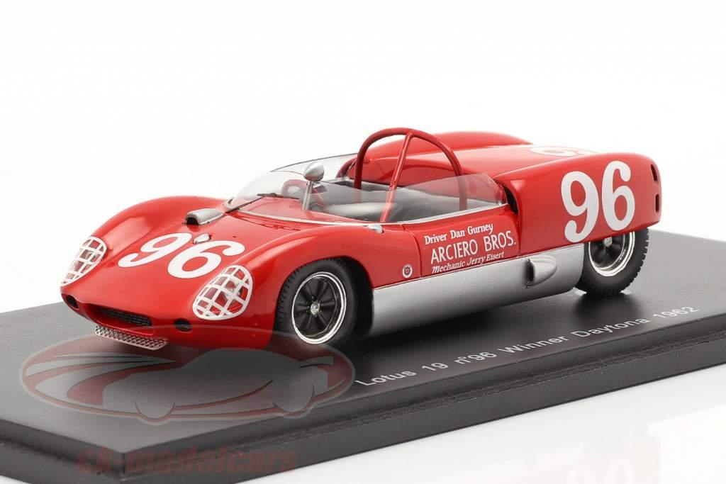 Lotus 19 #96 24h Daytona lauréat 1962 D. Gurney 1:43 Spark