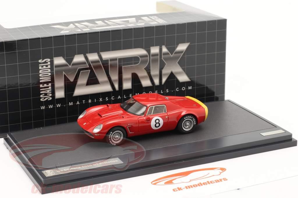 Iso Daytona 6000 GT Prototipo #8 Jaar 1965 rood 1:43 Matrix