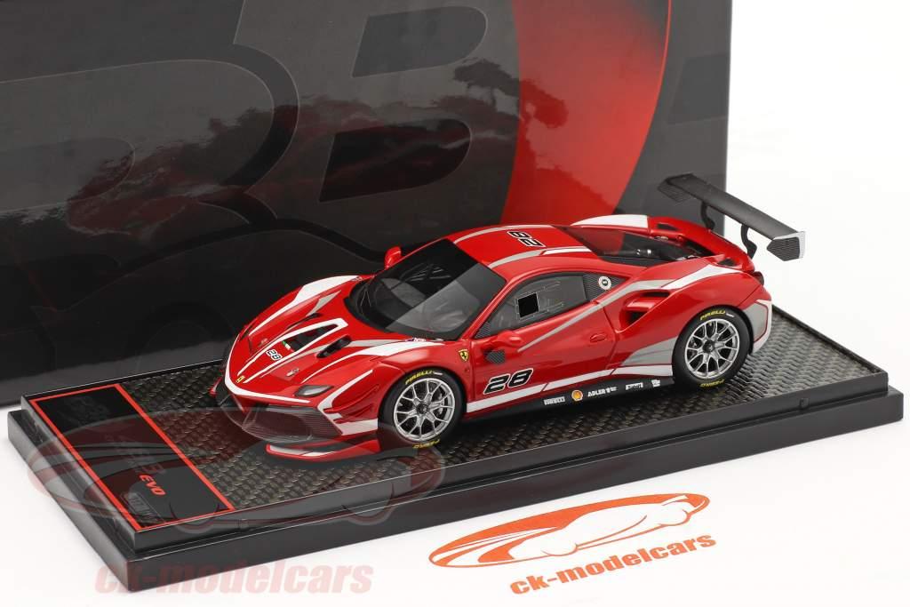 Ferrari 488 Challenge Evo #28 2020 corsa rood 1:43 BBR