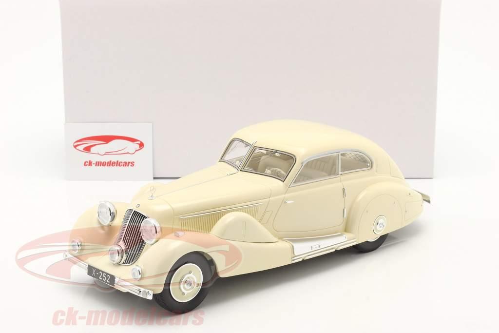 Mercedes-Benz 500K Særlig Strømlinet bil 1935 fløde hvid 1:18 Matrix