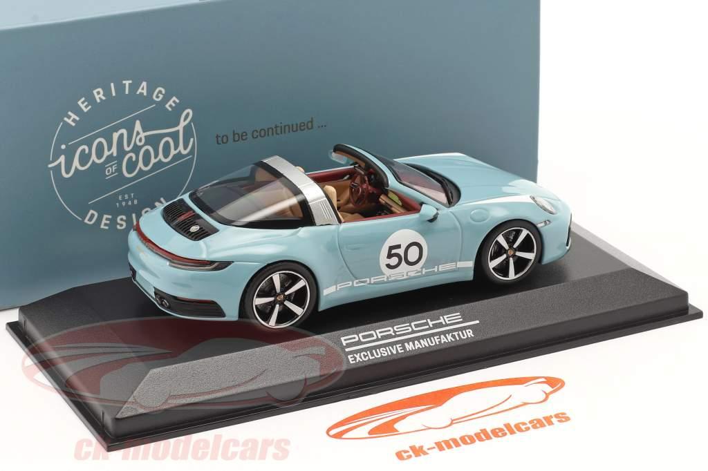 Porsche 911 (992) Targa 4S #50 Heritage Edition bleu meissen 1:43 Minichamps