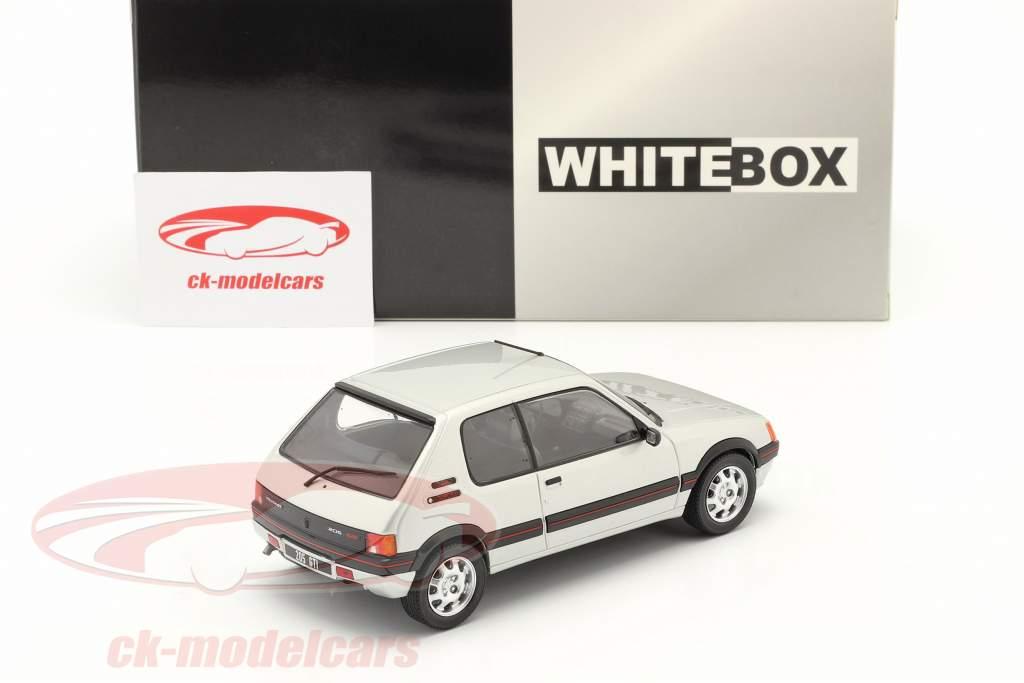 Peugeot 205 1.9 GTI Byggeår 1988 sølv 1:24 WhiteBox