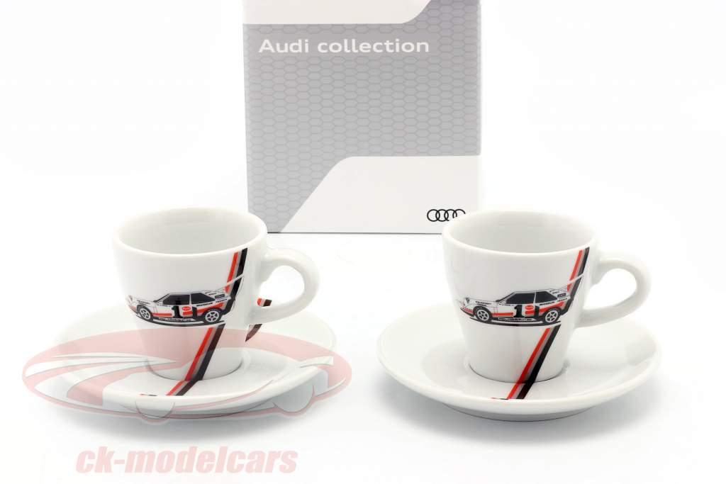 Espresso カップ Heritage (セットする の 2) Audi quattro S1 #1 勝者 Pikes Peak 1987