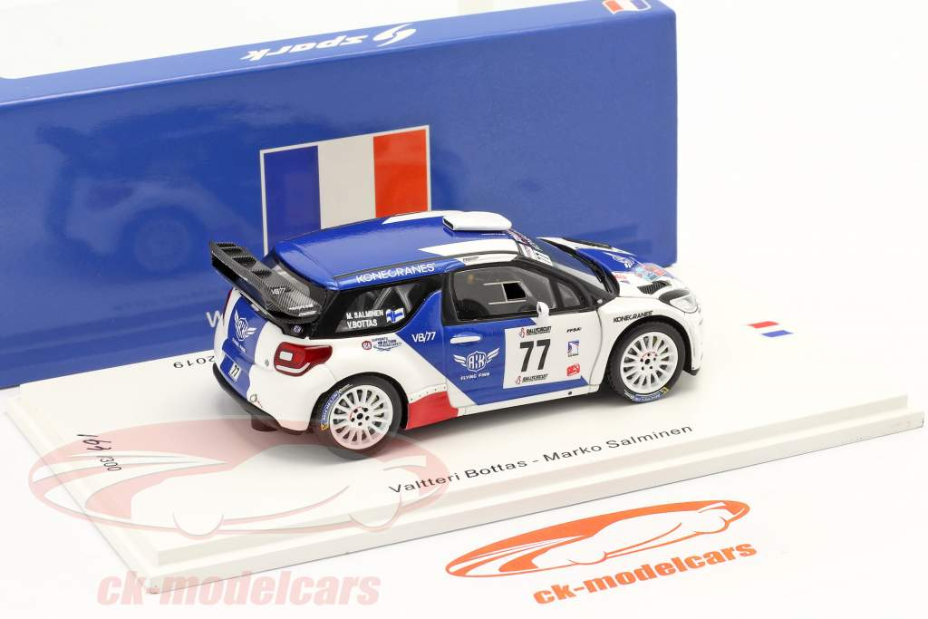 Citroen DS3 WRC #77 ganador RallyCircuit Cote d'Azur 2019 Bottas, Rautiainen 1:43 Spark