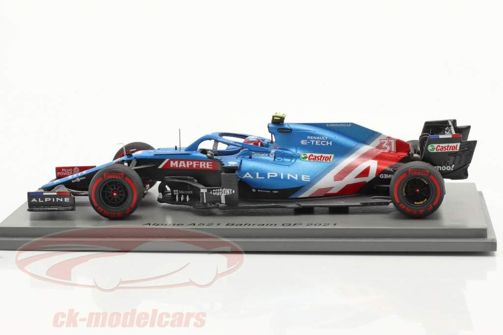 Esteban Ocon Alpine A521 #31 Bahreïn GP formule 1 2021 1:43 Spark