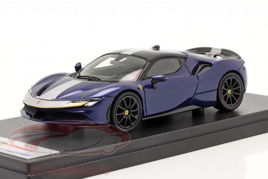 Ferrari SF90 Stradale Byggeår 2019 blå metallisk 1:43 LookSmart