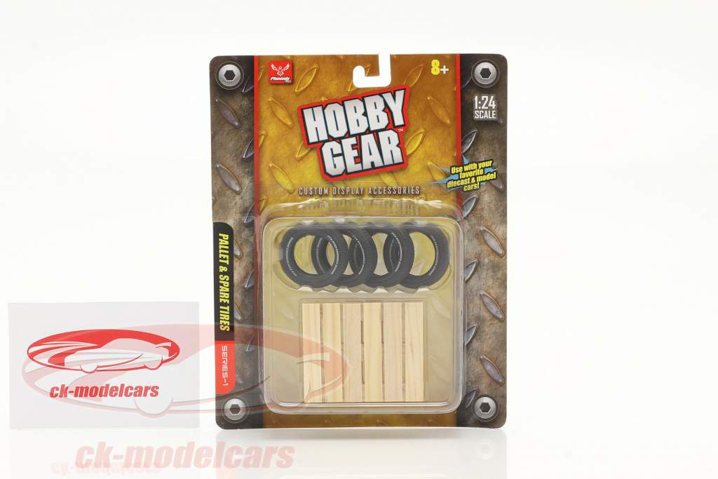 Spare tire set (4 Piece) with pallet 1:24 Hobbygear