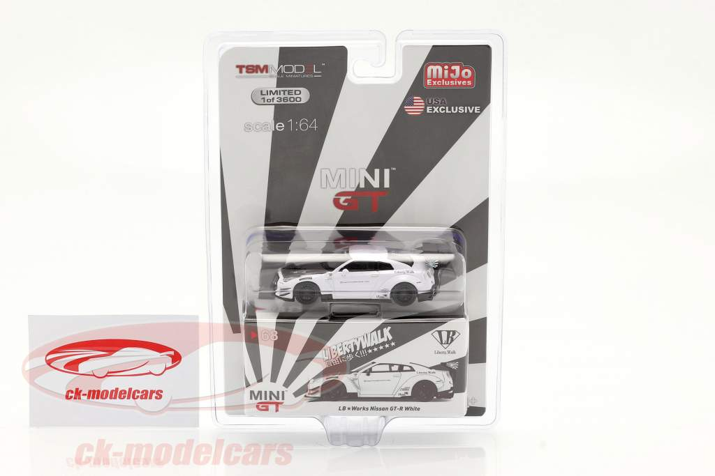 LB Works Nissan GT-R (R35) Type 2 LHD Wit in Blister 1:64 True Scale