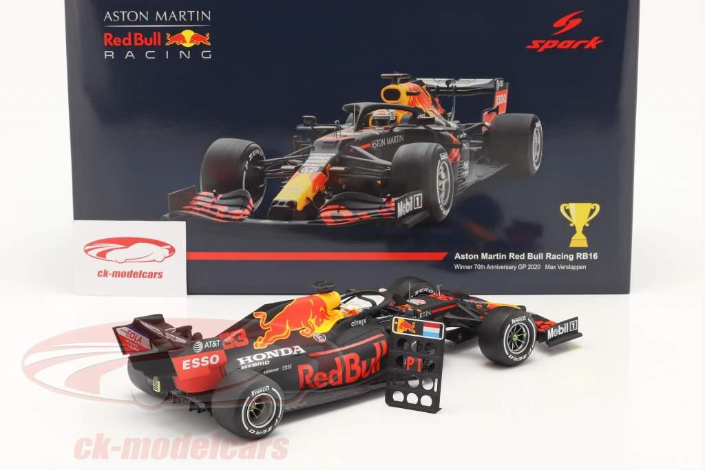 M.Verstappen Red Bull Racing RB16 #33 Winner 70th Anniversary GP 2020 1:18 Spark
