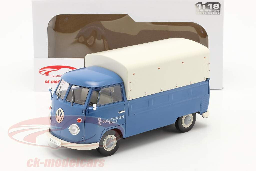 Volkswagen VW T1 Pick-Up with cover Volkswagen Service 1950 blue 1:18 Solido