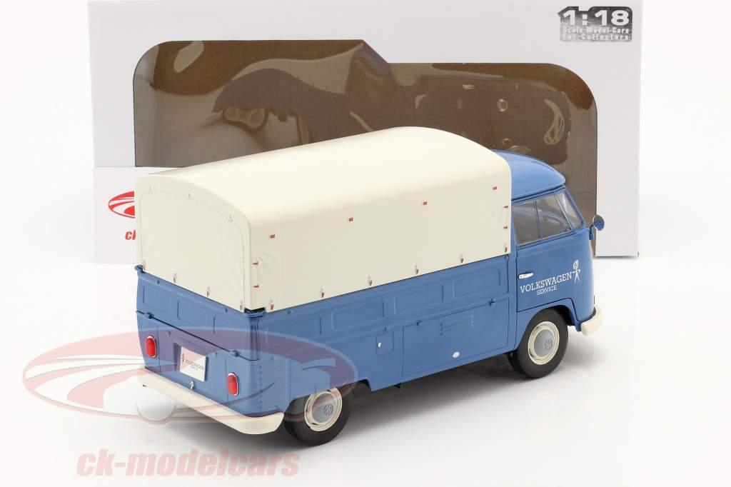 Volkswagen VW T1 Pick-Up med dække over Volkswagen Service 1950 blå 1:18 Solido