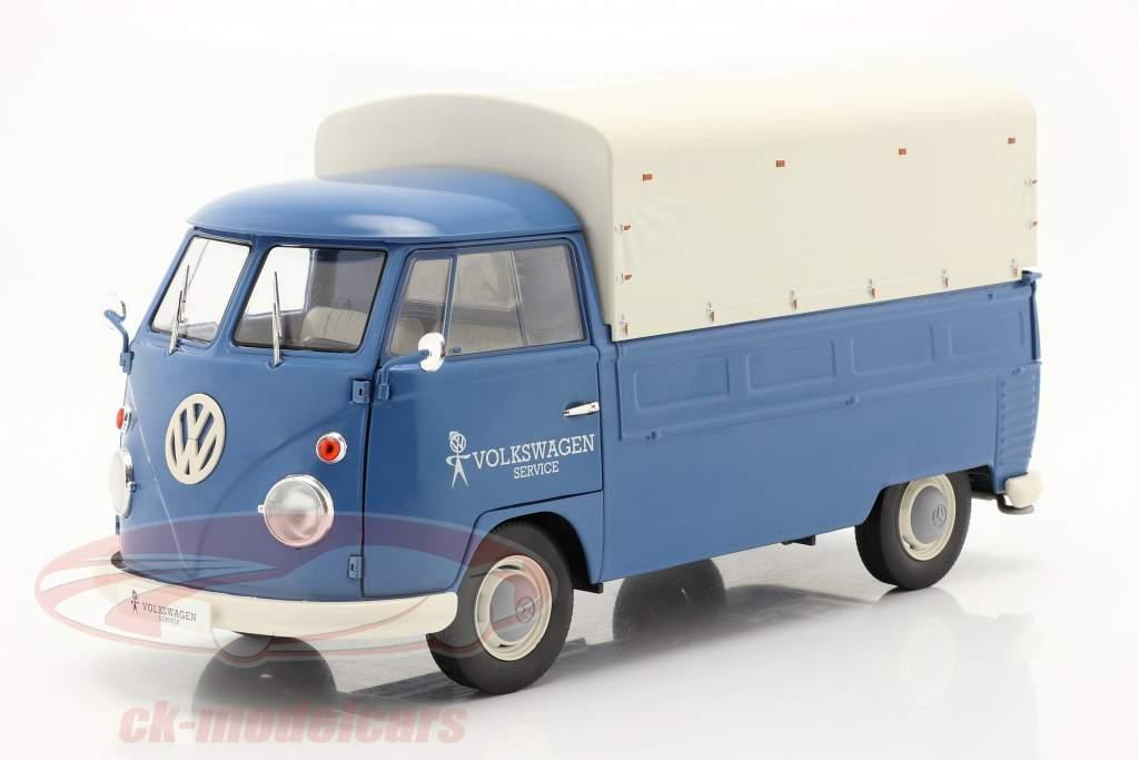 Volkswagen VW T1 Pick-Up met Hoes Volkswagen Service 1950 blauw 1:18 Solido