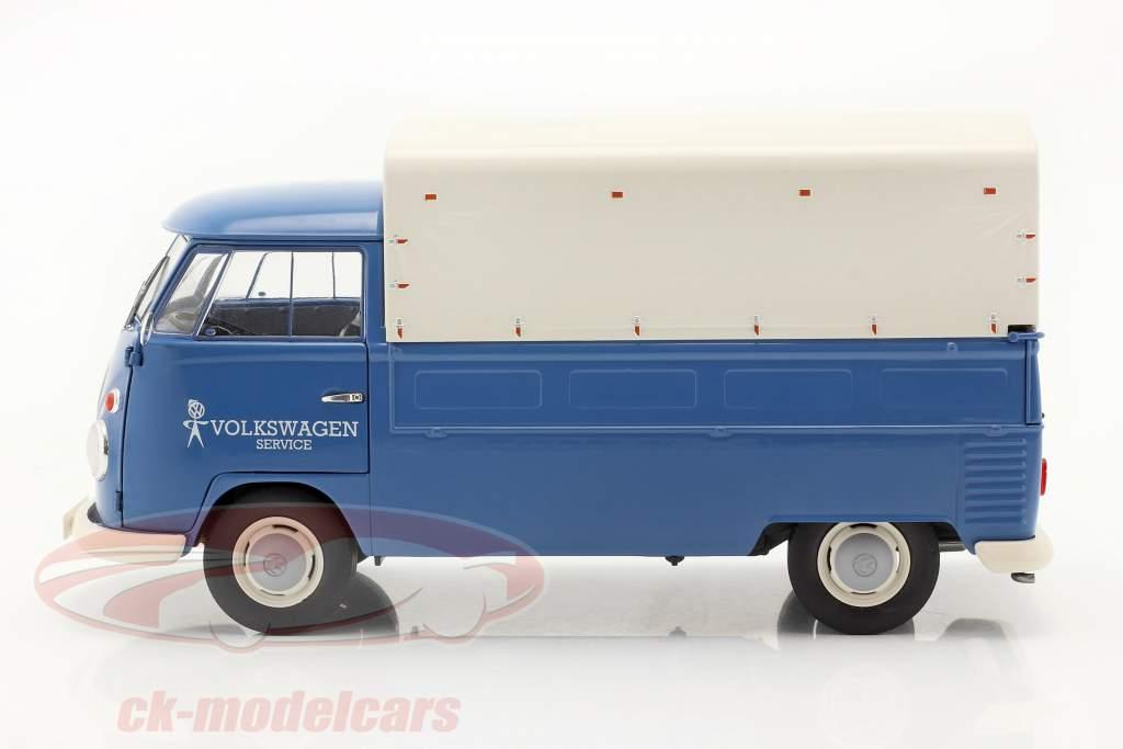 Volkswagen VW T1 Pick-Up com cobrir Volkswagen Service 1950 azul 1:18 Solido