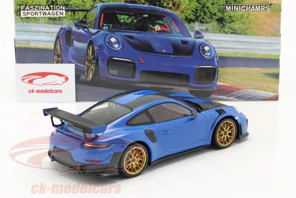 Porsche 911 (991 II) GT2 RS Weissach Package 2018 voodoo синий / золотой диски 1:18 Minichamps