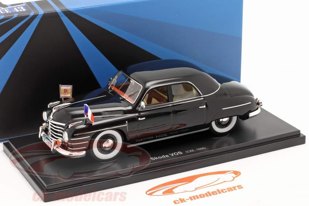 Skoda VOS Speciale voertuigen van de overheid Tsjecho-Slowakije 1948 zwart 1:43 AutoCult