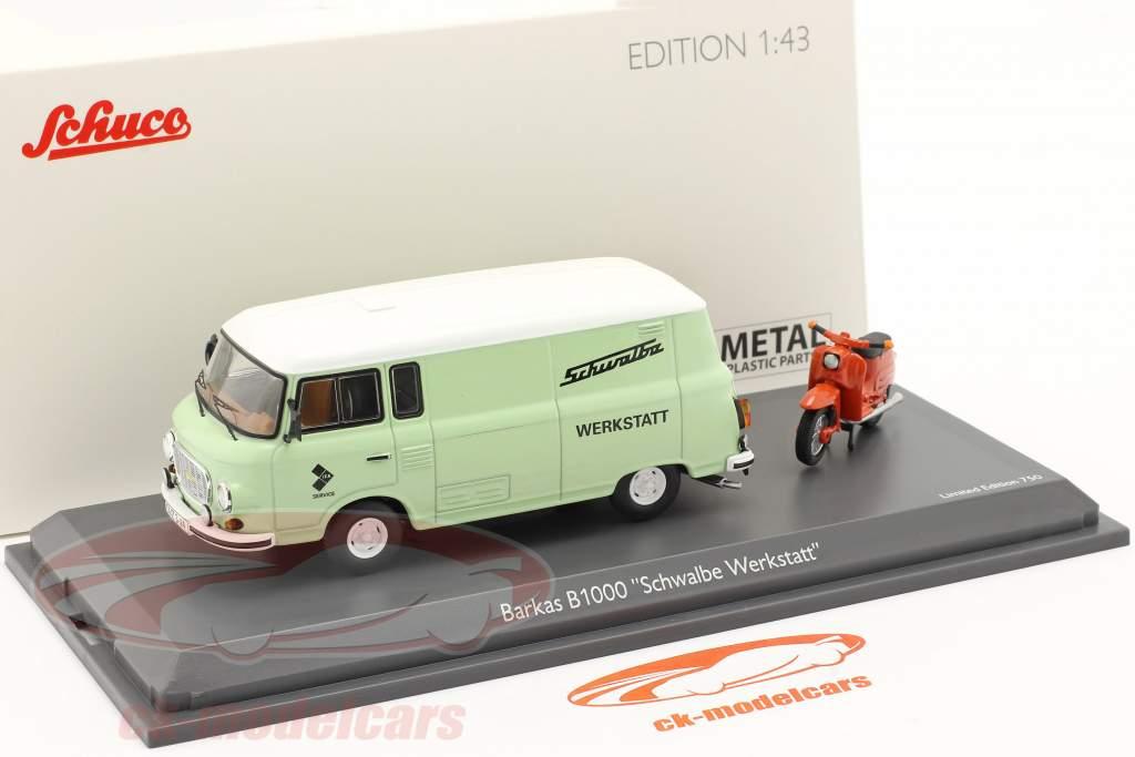 Barkas B1000 Atelier un service avec Schwalbe KR51 vert clair / Orange 1:43 Schuco