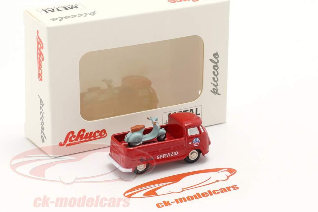 Volkswagen VW T1 pick-up truck Vespa onderhoud rood 1:90 Schuco Piccolo