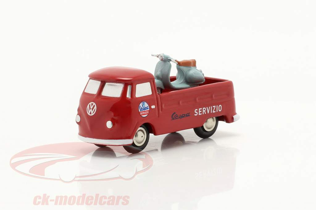 Volkswagen VW T1 ピックアップトラック Vespa サービス 赤 1:90 Schuco Piccolo