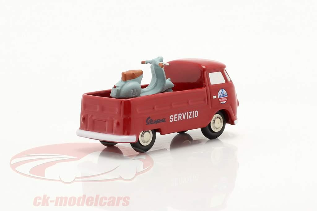 Volkswagen VW T1 Firhjulstrækker Vespa service rød 1:90 Schuco Piccolo