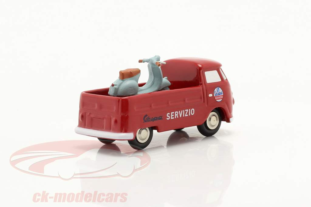 Volkswagen VW T1 Pick-up Vespa service rouge 1:90 Schuco Piccolo