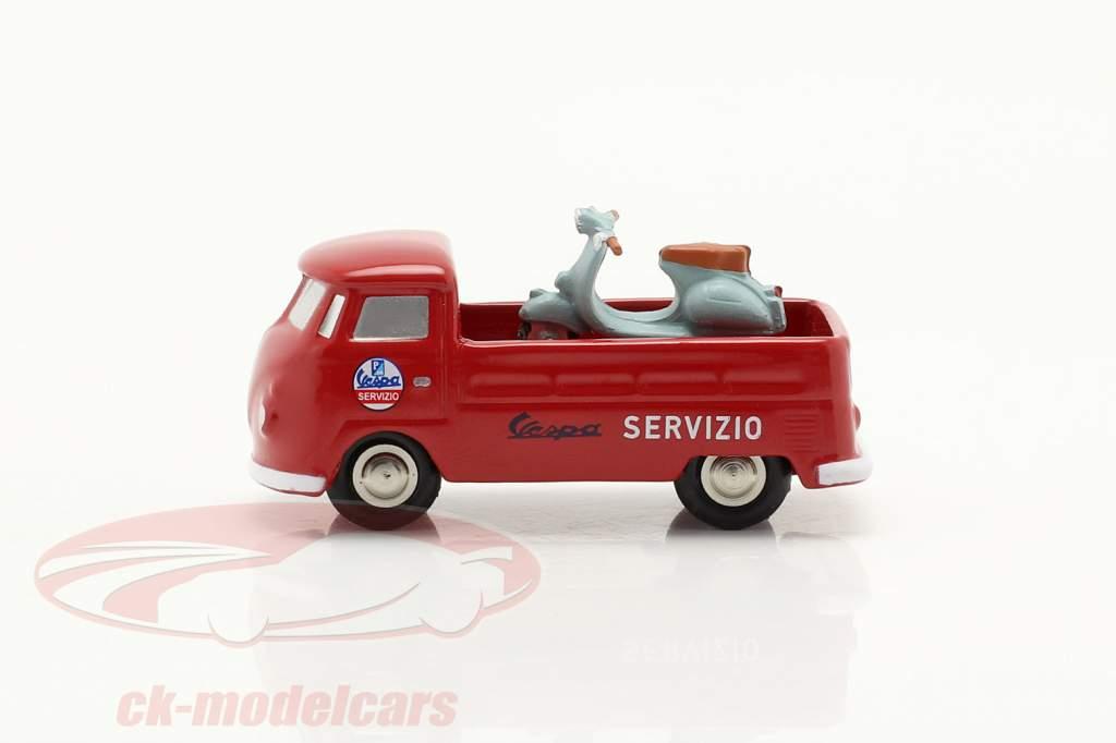 Volkswagen VW T1 Caminhonete Vespa serviço vermelho 1:90 Schuco Piccolo