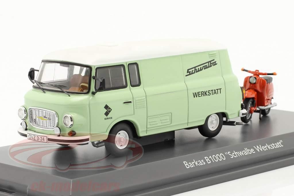 Barkas B1000 Werkstatt Service mit Schwalbe KR51 hellgrün / orange 1:43 Schuco