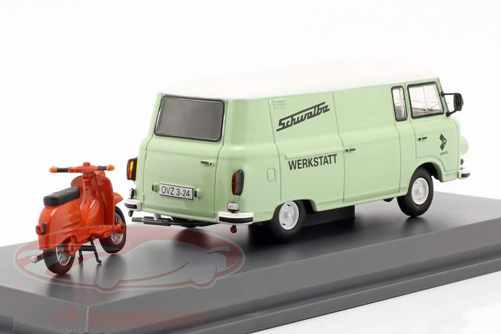 Barkas B1000 Taller Servicio Con Schwalbe KR51 verde claro / naranja 1:43 Schuco
