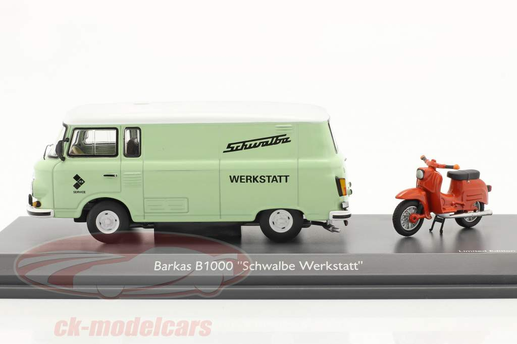 Barkas B1000 werkplaats onderhoud Met Schwalbe KR51 licht groen / oranje 1:43 Schuco