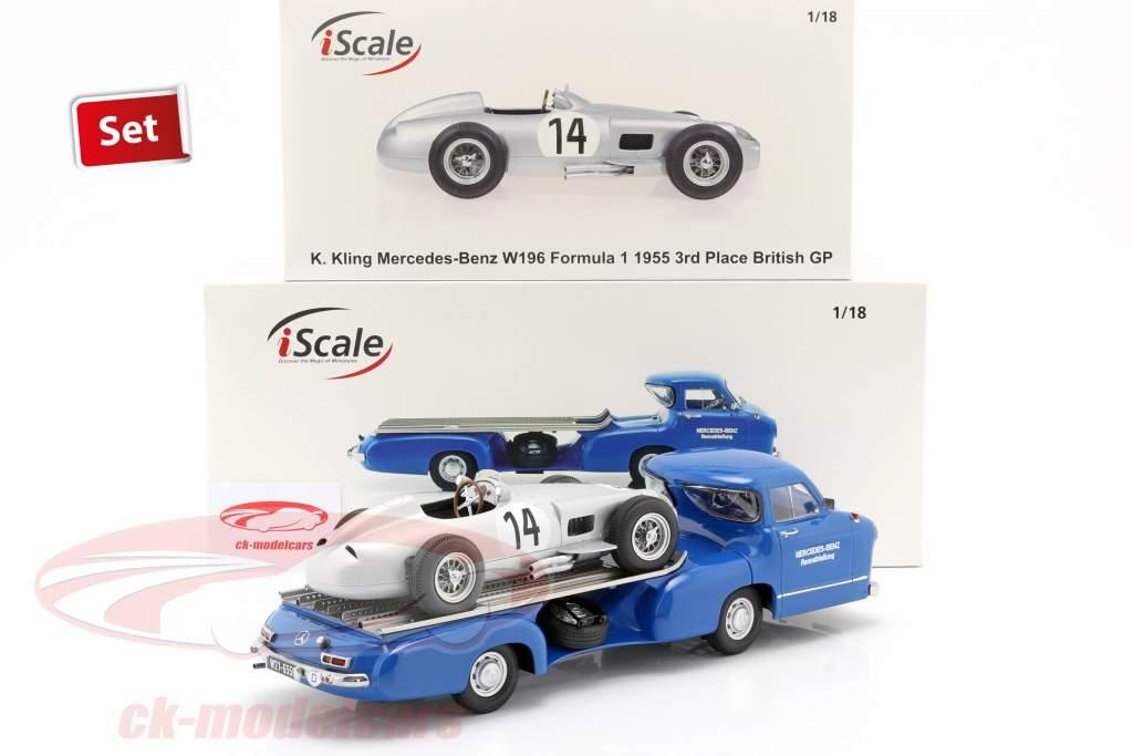 Set: Mercedes-Benz Course Auto Transporteur Bleu se demander avec Mercedes-Benz W196 #14 1:18 iScale