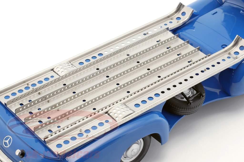Set: Mercedes-Benz Race Car Transporter Blue wonder with Mercedes-Benz W196 #14 1:18 iScale