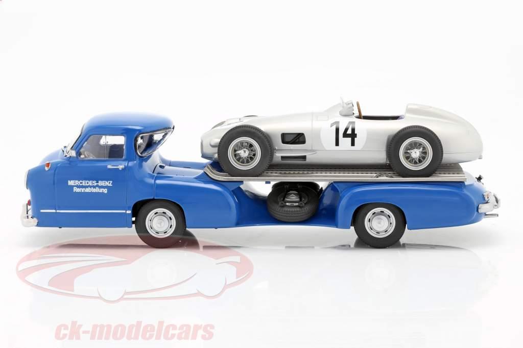 Set: Mercedes-Benz Race Bil Transportør Blå spekulerer med Mercedes-Benz W196 #14 1:18 iScale