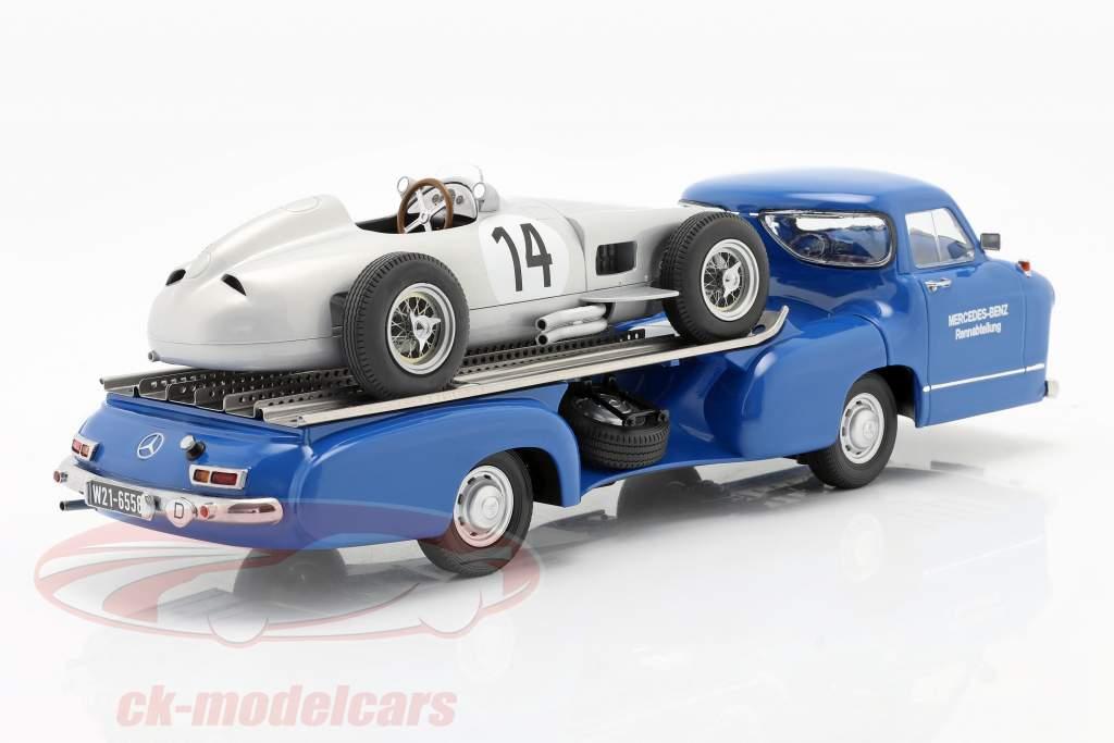 Set: Mercedes-Benz Ras Auto vervoerder Blauw vraag me af met Mercedes-Benz W196 #14 1:18 iScale