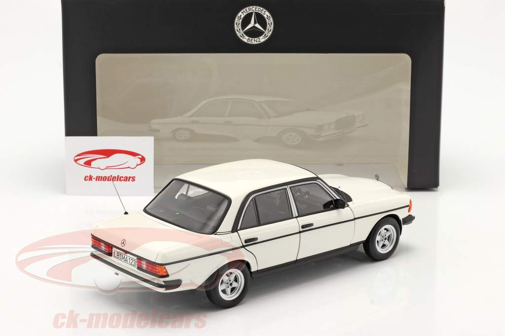 Mercedes-Benz 200 (W123) bouwjaar 1980 - 1985 klassiek wit 1:18 Norev